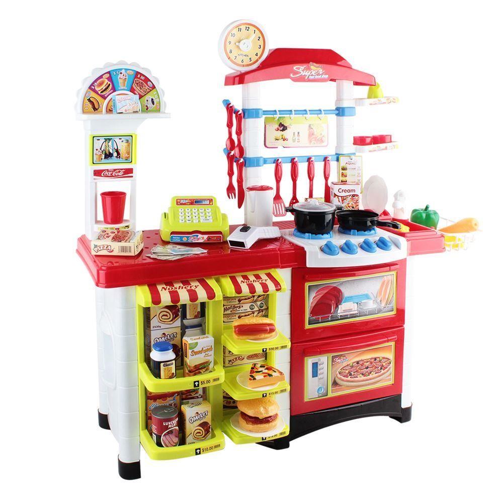 Children Kids Pretend Role Play Toys Kitchen Fast Food Supermarket Cooking Set