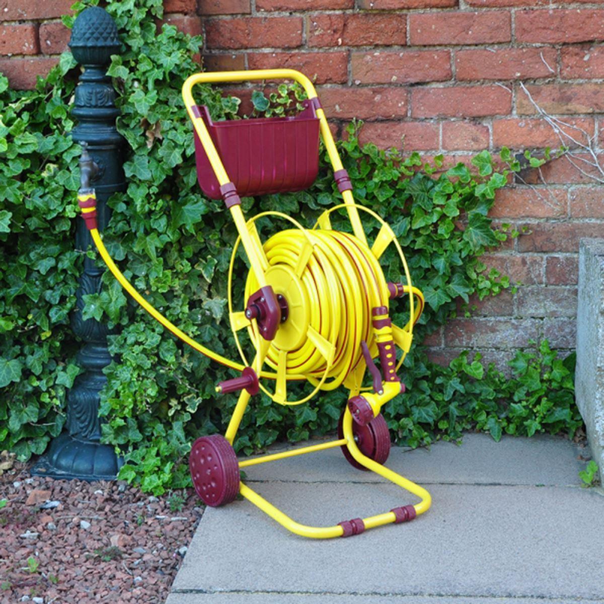 60m Gold Metal Garden Hose Reel Trolley Cart